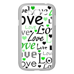 Green  Valentine s Day Pattern Samsung Galaxy Grand Duos I9082 Case (white) by Valentinaart
