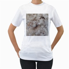 Down Comforter Feathers Goose Duck Feather Photography Women s T-Shirt (White)