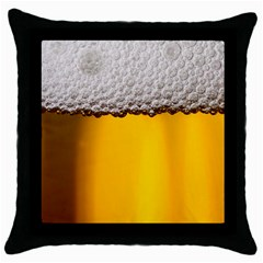 Beer Foam Yellow Throw Pillow Case (black) by AnjaniArt