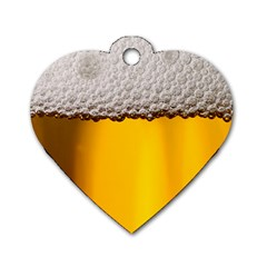 Beer Foam Yellow Dog Tag Heart (one Side) by AnjaniArt