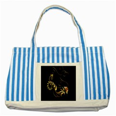 Butterfly Black Golden Striped Blue Tote Bag by AnjaniArt