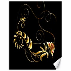 Butterfly Black Golden Canvas 18  x 24   by AnjaniArt