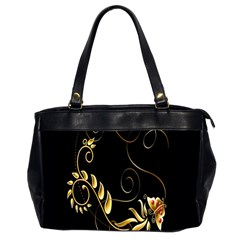 Butterfly Black Golden Office Handbags (2 Sides)  by AnjaniArt