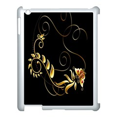 Butterfly Black Golden Apple Ipad 3/4 Case (white) by AnjaniArt
