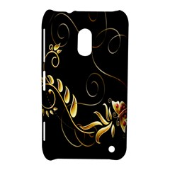 Butterfly Black Golden Nokia Lumia 620 by AnjaniArt