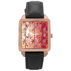 Bamboo Tree New Year Red Rose Gold Leather Watch  by AnjaniArt