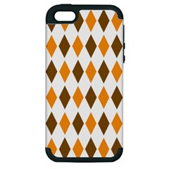 Brown Orange Retro Diamond Copy Apple Iphone 5 Hardshell Case (pc+silicone) by AnjaniArt