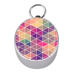 Chevron Colorful Mini Silver Compasses by AnjaniArt