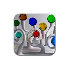Colorful Glass Balls Rubber Square Coaster (4 Pack)  by AnjaniArt