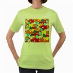 Bear Umbrella Women s Green T-Shirt
