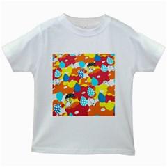 Bear Umbrella Kids White T-Shirts