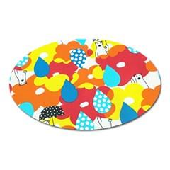 Bear Umbrella Oval Magnet