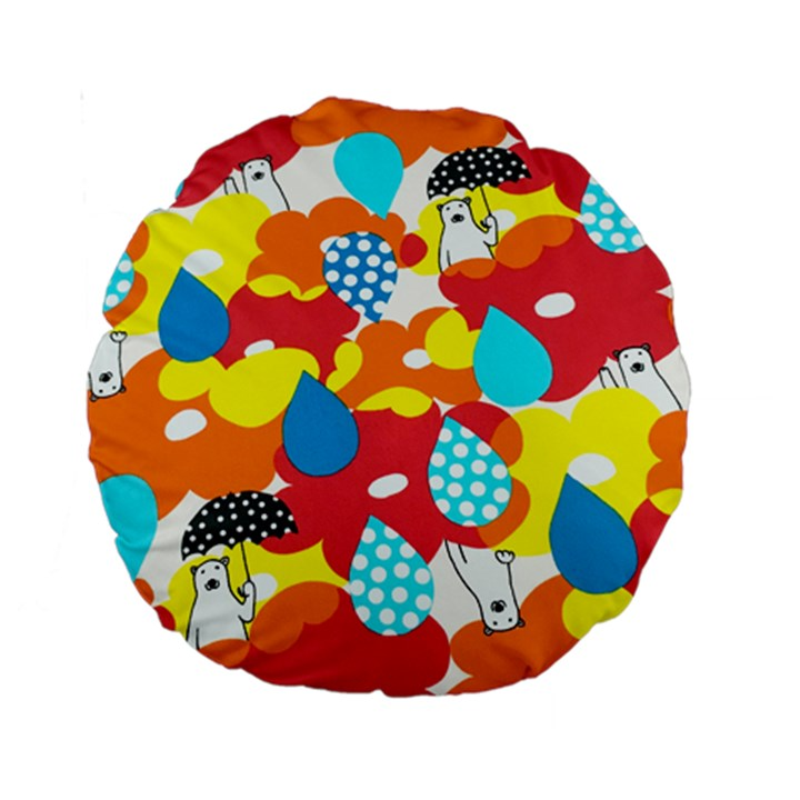 Bear Umbrella Standard 15  Premium Round Cushions