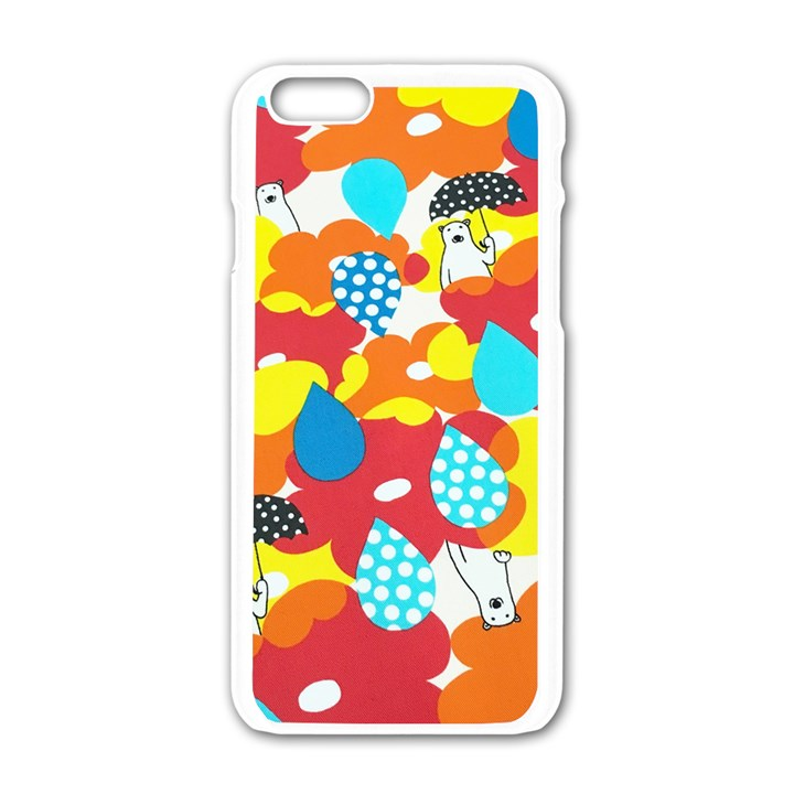 Bear Umbrella Apple iPhone 6/6S White Enamel Case