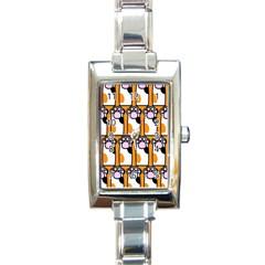 Cute Cat Hand Orange Rectangle Italian Charm Watch