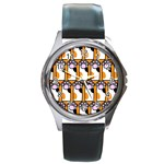 Cute Cat Hand Orange Round Metal Watch Front