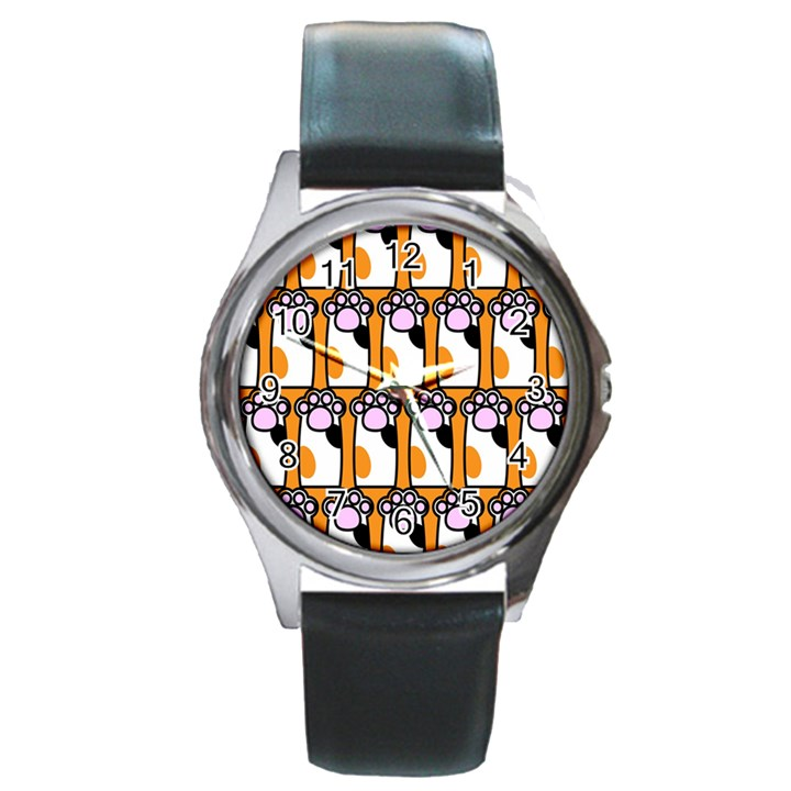 Cute Cat Hand Orange Round Metal Watch