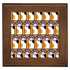 Cute Cat Hand Orange Framed Tiles by AnjaniArt