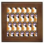 Cute Cat Hand Orange Framed Tiles Front