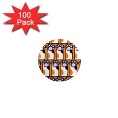 Cute Cat Hand Orange 1  Mini Magnets (100 Pack)  by AnjaniArt