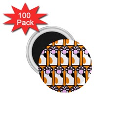 Cute Cat Hand Orange 1 75  Magnets (100 Pack)  by AnjaniArt