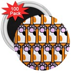 Cute Cat Hand Orange 3  Magnets (100 pack) Front