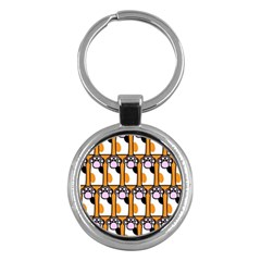 Cute Cat Hand Orange Key Chains (round)  by AnjaniArt