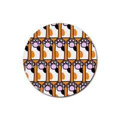 Cute Cat Hand Orange Rubber Coaster (round)