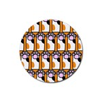 Cute Cat Hand Orange Rubber Round Coaster (4 pack)  Front