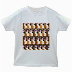 Cute Cat Hand Orange Kids White T Shirts