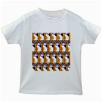 Cute Cat Hand Orange Kids White T-Shirts Front