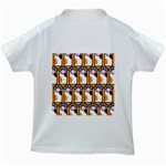 Cute Cat Hand Orange Kids White T-Shirts Back