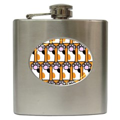 Cute Cat Hand Orange Hip Flask (6 Oz)
