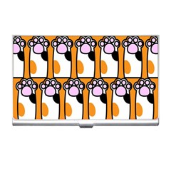 Cute Cat Hand Orange Business Card Holders by AnjaniArt