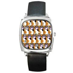 Cute Cat Hand Orange Square Metal Watch