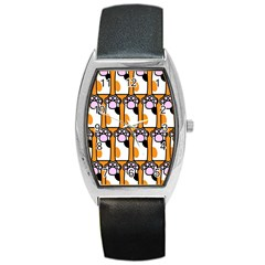 Cute Cat Hand Orange Barrel Style Metal Watch