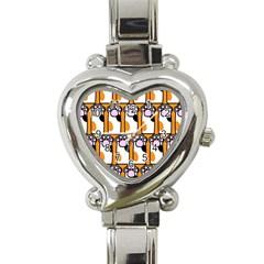 Cute Cat Hand Orange Heart Italian Charm Watch by AnjaniArt