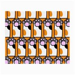 Cute Cat Hand Orange Small Glasses Cloth Front