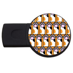 Cute Cat Hand Orange Usb Flash Drive Round (4 Gb)  by AnjaniArt