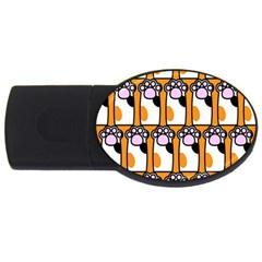 Cute Cat Hand Orange USB Flash Drive Oval (4 GB)