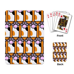 Cute Cat Hand Orange Playing Card by AnjaniArt