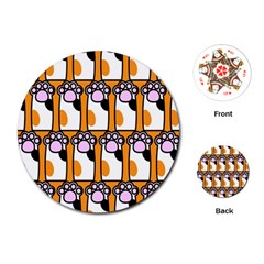 Cute Cat Hand Orange Playing Cards (round)  by AnjaniArt