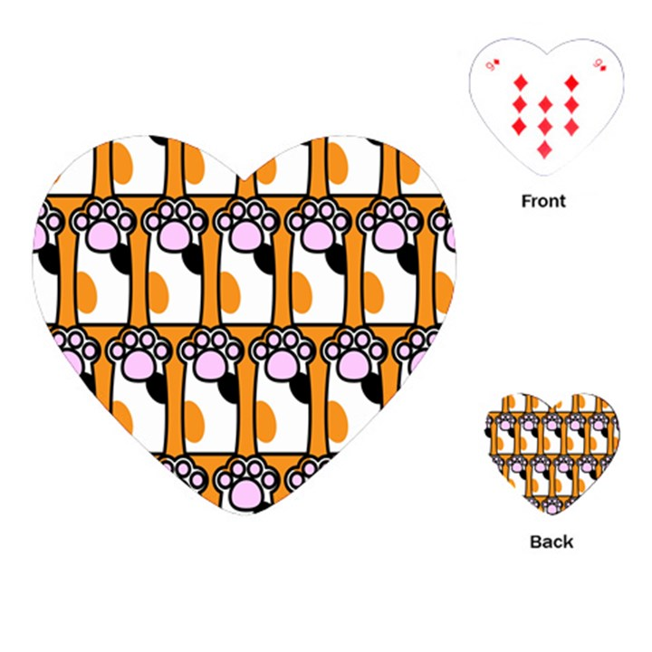 Cute Cat Hand Orange Playing Cards (Heart)
