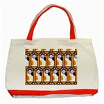 Cute Cat Hand Orange Classic Tote Bag (Red) Front