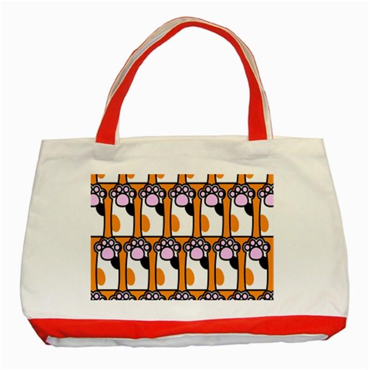 Cute Cat Hand Orange Classic Tote Bag (Red)