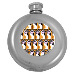 Cute Cat Hand Orange Round Hip Flask (5 Oz) by AnjaniArt