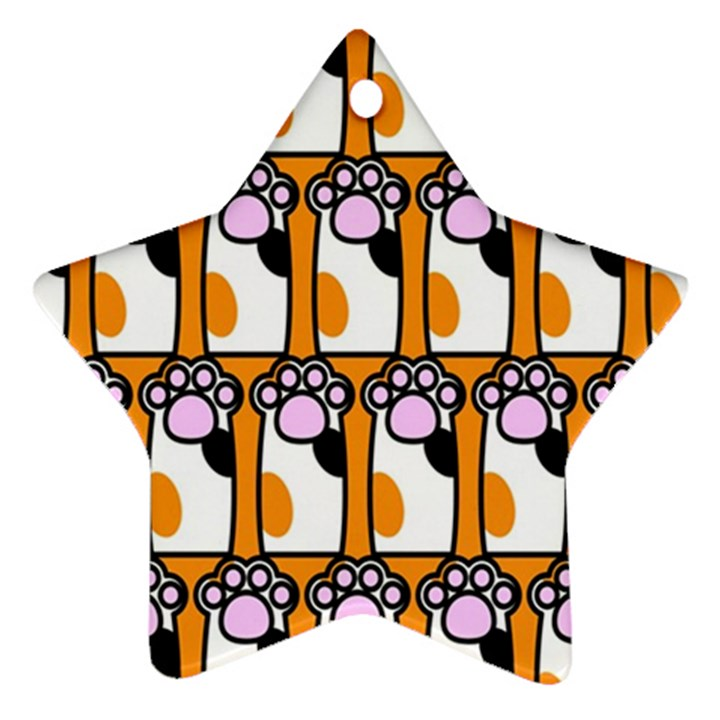 Cute Cat Hand Orange Star Ornament (Two Sides)