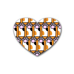 Cute Cat Hand Orange Heart Coaster (4 Pack)