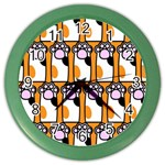 Cute Cat Hand Orange Color Wall Clocks Front