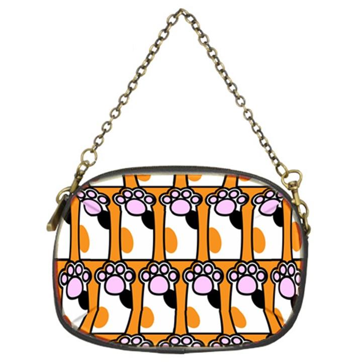 Cute Cat Hand Orange Chain Purses (Two Sides)